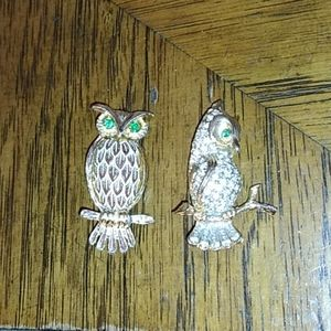 Pair of vintage owl brooches